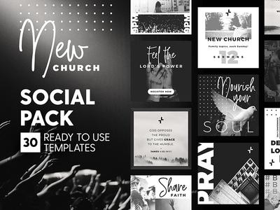 New Church - Social Pack clean minimal ministry church marketing prayer branding social media template instagram post