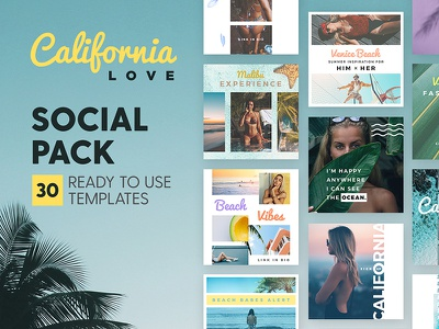 California Love - Social Pack palm tropical surf beach california marketing blog branding social media template instagram post
