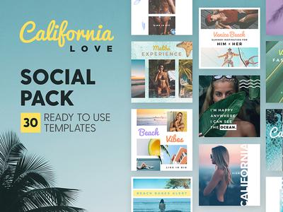 California Love - Social Pack palm tropical surf beach california marketing blog branding social media template instagram post