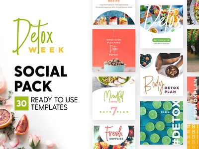 Detox Week - Social Pack fruit skin food detox health marketing blog branding social media template instagram post