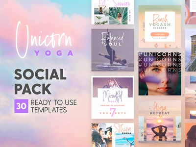 Unicorn Yoga - Social Pack zen meditation fitness sport yoga marketing blog branding social media template instagram post