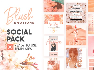 Blush Emotions - Social Pack romance love pastel social media identity post instagram feminine branding design template blush