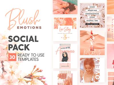 Blush Emotions - Social Pack romance love pastel social media identity post instagram feminine branding design template blush