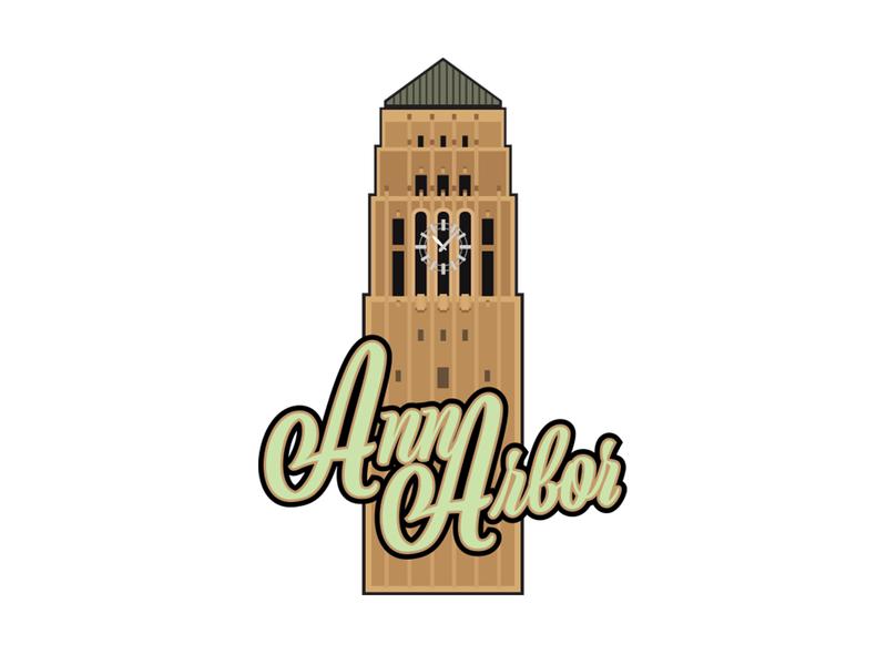 Ann Arbor Clock Tower illustration