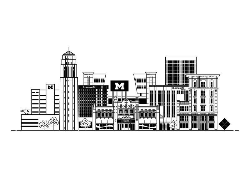 Ann Arbor cityscape illustration