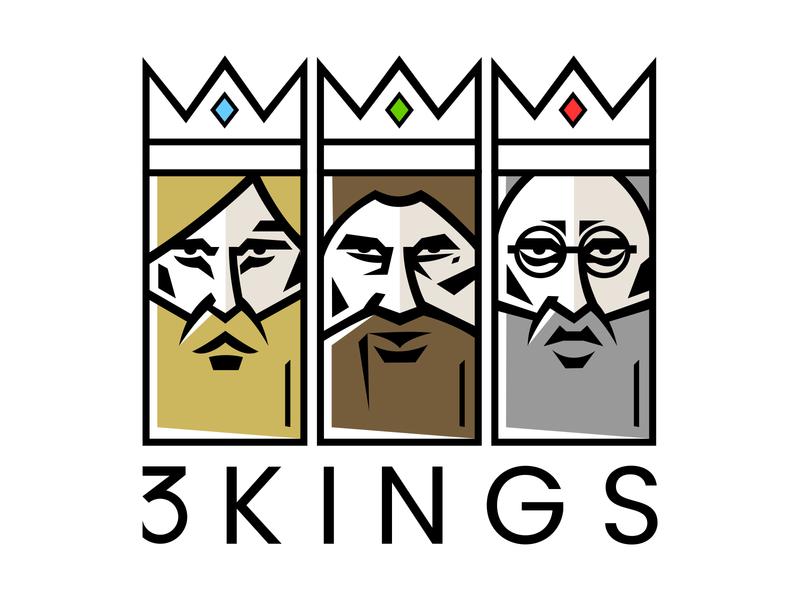3 Kings illustration logo