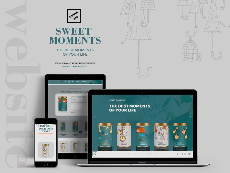 Sweet Moments illustrations tea coffee responsive website