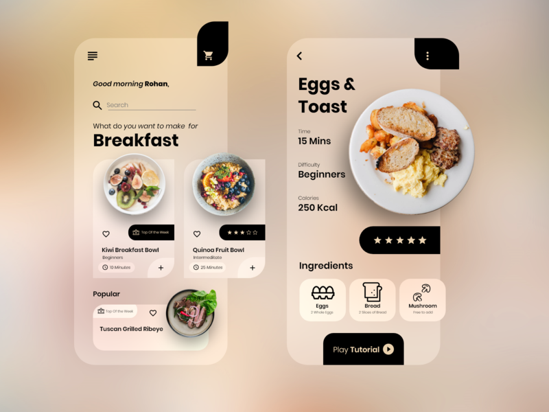 Cooking App UI iconography icon blur minimalism ios app design product design app design ui design recipies cooking minimal concept ux designs designer uiux ui design clean app