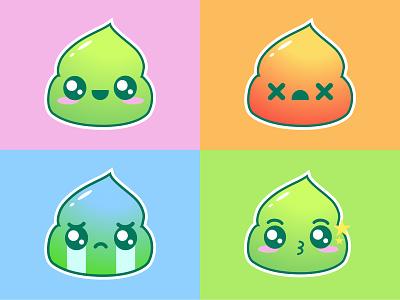 wasapi emojis logo design kawaii emoji wasabi