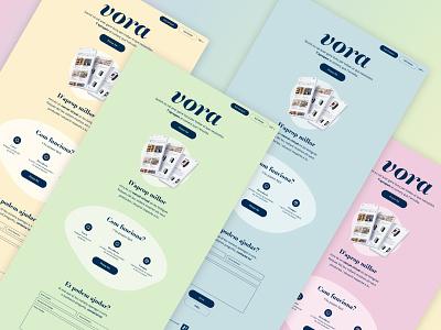 Vora Color Scheme Experiments landing app landing page ui design pastel branding landing page graphic design