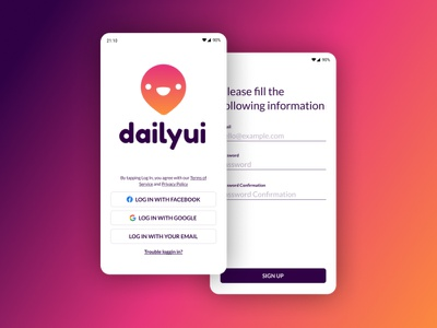Sign Up page DailyUI ui design mobile sign up dayliui