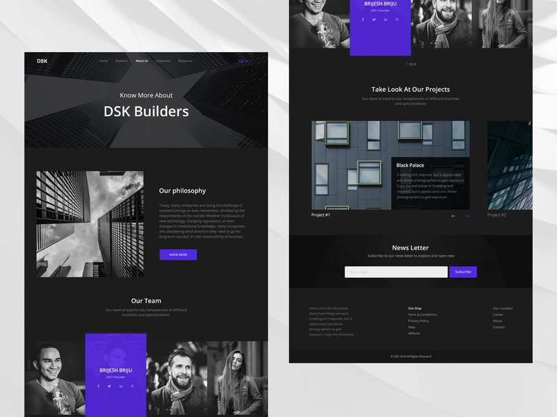 About Us Page project our team newsletter building blue ui ui  ux black dark about page about us aboutus