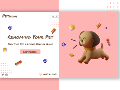 adpot a pet design art 3d animation 3d art website development website concept website design design logo colors animation algeria webdesigner webdesign uiux uidesign designer ui