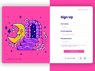 Sign Up illustration art branding design signup tunisia colors designer uiux branding animation algeria webdesigner webdesign uidesign