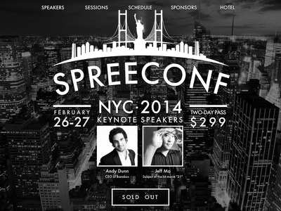 Spree Conf NYC 2014 spree spreeconf spree commerce conference conference website black and white big background image typography futura event one page website