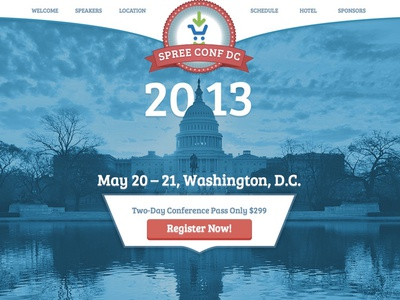 Spree Conf DC 2013 event spree spreeconf spree commerce conference conference website big background image typography one page website
