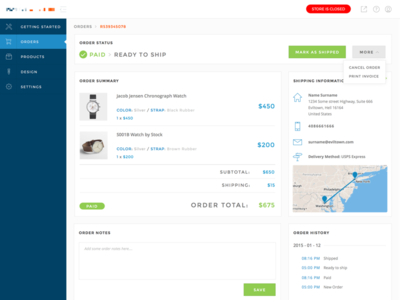 Store admin / Orders order admin ui shop store ecommerce e-commerce