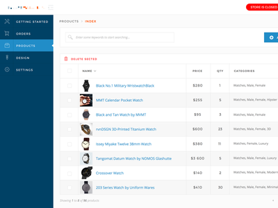 Store admin / Products upload form table index products admin ui shop store ecommerce e-commerce