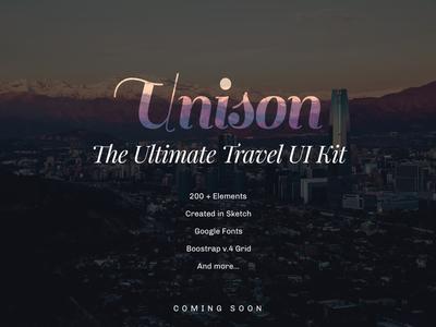 Unison UI Kit ui ui kit travel coming soon prmotion ad unison