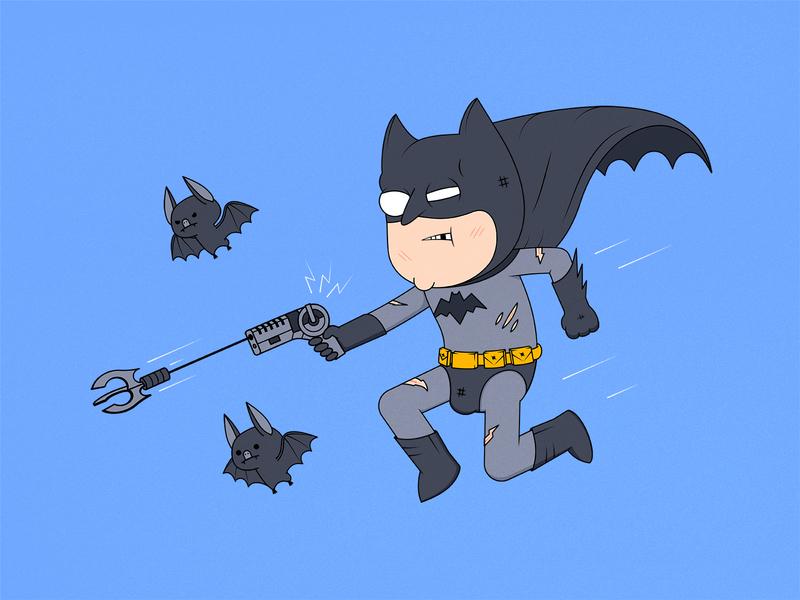 Batman flying funny dc comics super hero character design comic flat characterdesign illustrations vector batman bat character cartoon illustration illustrator