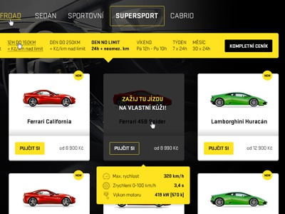 DREAM-CARS web redesign web car rental supersport lamborghini ferrari