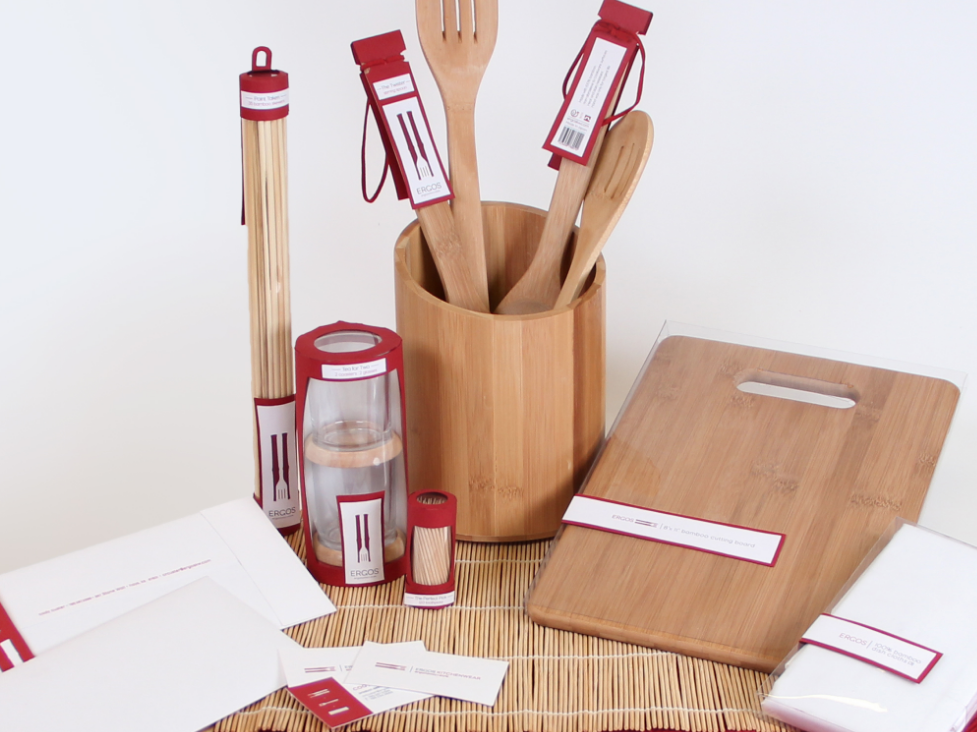 Ergos Kitchenware: Ergonomic + Style minimalist packaging businesscard branding leather minimalistic silhoutte simple clean interface toothpick bamboo red elegant simple simplicity