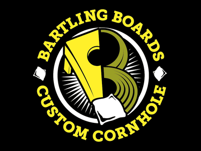 Bartling Boards Early Logo Design letterform slab-serif toss bounce circular logo illustration bean radial prelaunch logo a day bright bright colors solid colors simple branding logo