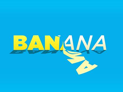 Let's split... logo a day conceptual simple reveal grotesque italic fruit vector art split banana design illustration exercise typography