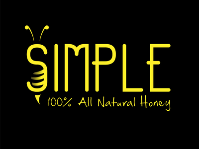Simple: 100% All-natural Honey. logo symbol black and yellow vector icons logo a day conceptual typography simple all natural bee honey superhero