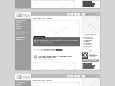 Intranet Utadeo | Wireframe