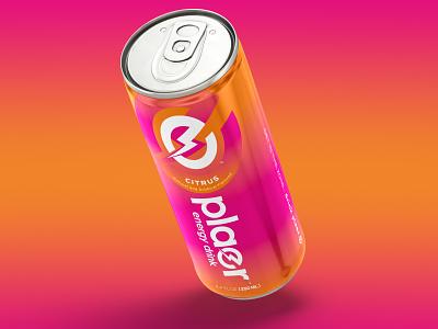 Plaer Energy drink vibrant sports energy bolt energy drink packaging design branding logo