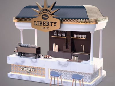 Liberty café / Brand identity / Interior design counter design newyorkcity nyc liberty coffeeshop café logo branding