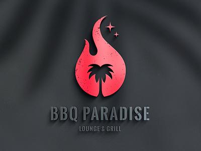 BBQ PARADISE / Brand Identity meat palm tree flame paradise restaurant grill bbq design logo branding