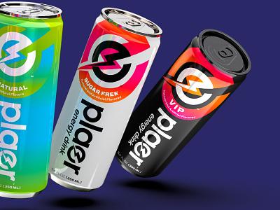 Plaer Energy Drink ™ packaging drink identity energy bolt design logo branding