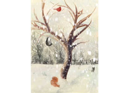 Winter Snow Scene new year children book illustration childrens illustration childrens book illustration nature procreate art procreate app procreate christmas animal illustration animal winter scene snow winter