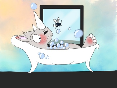 Rhino Bubble Bath ...with guest cute funny children book illustration childrens illustration childrens book sketch procreate procreate art procreate app bubble bath bubbles bubble mosquito rhinoceros rhino illustration
