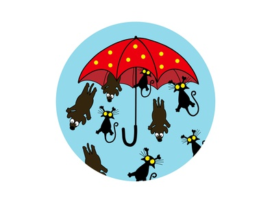 Raining Cats & Dogs sticker silly funny procreate procreate app illustration raining dogs dog cats cat