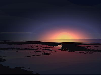 Winter Sky simple illustration beach sky sun reflections adobe illustrator cc pink purple blue ocean sea adobe illustrator adobe illustration