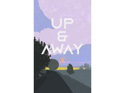 UP & AWAY texture vector art away up gray grey purple road hot air balloon nature illustration illustration countryside cloud balloon