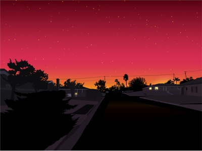 Neighbourhood at Dusk pink night scene illustrator silhoutte sky moon road house neighborhood sunset dusk vector illustration editorial illustration landscape
