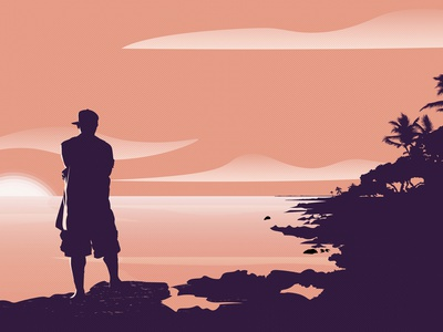 Guy Watching Sunset illustrator illustration art nature pink silhouette palm trees editorial design editorial illustration simple design sunset hawaii