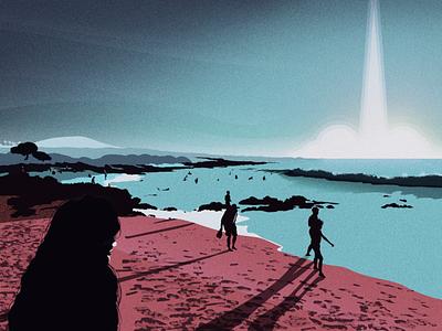 Rocket Launch vector illustrator cc art design water wave landscape illustrator ocean rocketship nature illustration beach rocket