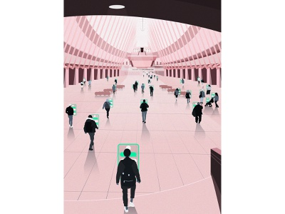 Always On The Phone environment landscape epic tech phone technology buildings commuter commute new york oculus building art design illustrator illustration