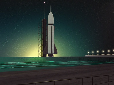 Rocket Launch at the Pier illustration nature adobe illustrator illustrator texture ocean beach launch rocket pier