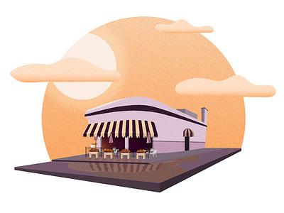 Diner Sunset clouds texture sunsets simple illustration reflection diner building adobe illustrator sunset illustration