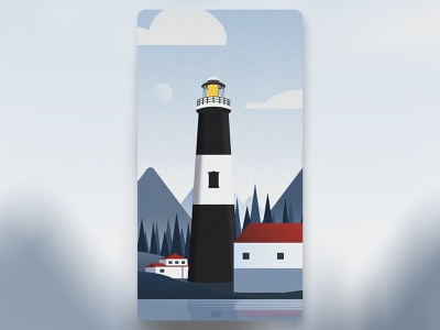 Lighthouse landscape illustration illustrator background design mountains country harbour sea lighthouse