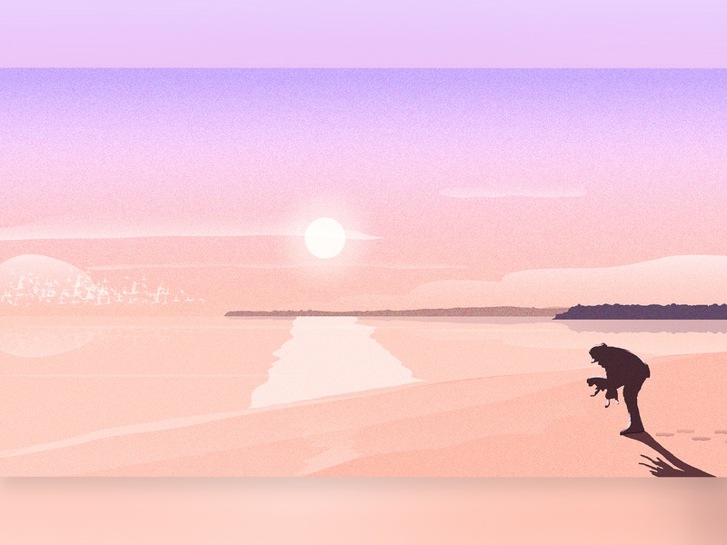 Sunrise at the Beach background design illustration nature dog sunrise simple design simple illustration birds flock sun illustrator beach