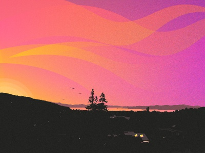 Sunset Lake background simple design simple illustration nature clouds texture waves silhouette illustrator illustration sky sunrise sunset lake