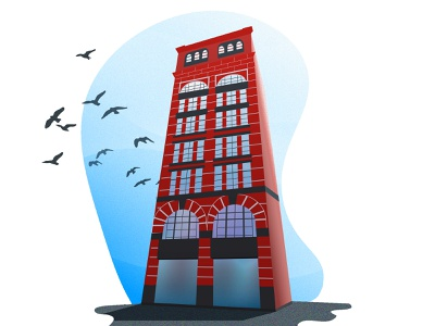 Building Perspective perspectives illustrator simple design birds illustration style perspective brick tower building