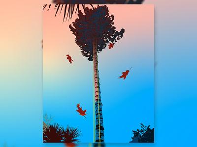 Leaves Falling palm illustrator adobe illustrator vector design simple illustration silhouette autumn fall sunrise sunset leaves leaf tree